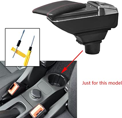 For Smart fortwo forfour 2009-2018 Car Center Console Armrest Storage Box Accessories With Cup Holder And Removable Ashtra Black
