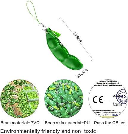 Veraing 6 PCS Dr/ücken eine Bohne Fun Beans 6 Stress-Angst-Entlastungskette f/ür Erwachsene Squeeze Sojabohnen-Anh/änger Spielzeug mit reduziert Angst und Stress Relieving Chain