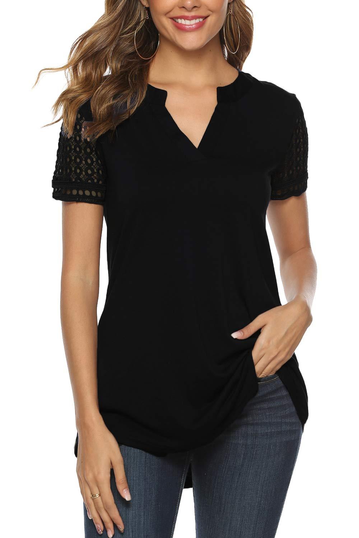 Zattcas Womens Tunic Top Women Casual Short and Long Sleeve V Neck High Low Blouse Shirt Tops