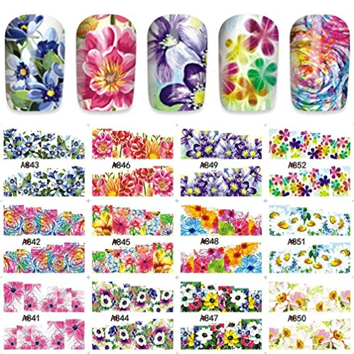12Patterns Water Decals Nail Art, Transfer Stickers Big Sheet Manicure Decoration