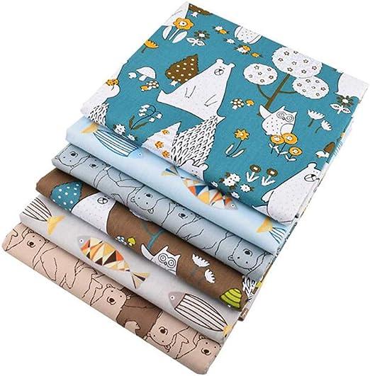 6 piezas/lote, osos y peces, 40 cm x 50 cm, tela de algodón de sarga, tela de retazos, costura de bricolaje, acolchado, tela de retales para bebés y niños: Amazon.es: Hogar