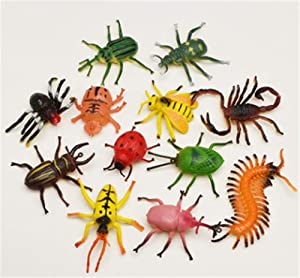 senlinlv 12Pcs Simulation Insect Toy Plastic Model Lifelike Assorted Insects Toys Mantis Spider Ladybug for Kids Toddlers Christmas Birthday Educational Garden Decoration