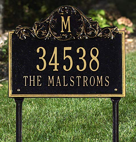 [해외]Personalized Cast Metal Address Plaque with Monogram - Lawn Mounted Custom House Number Sign / Personalized Cast Metal Address Plaque with Monogram - Lawn Mounted Custom House Number Sign
