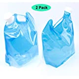 NUOMI 5 litres Collapsible Water Container for Backpacking/Camping/Hiking, Upgraded Bag to Store Liquids, Clear 2 Packs Flat for Travel