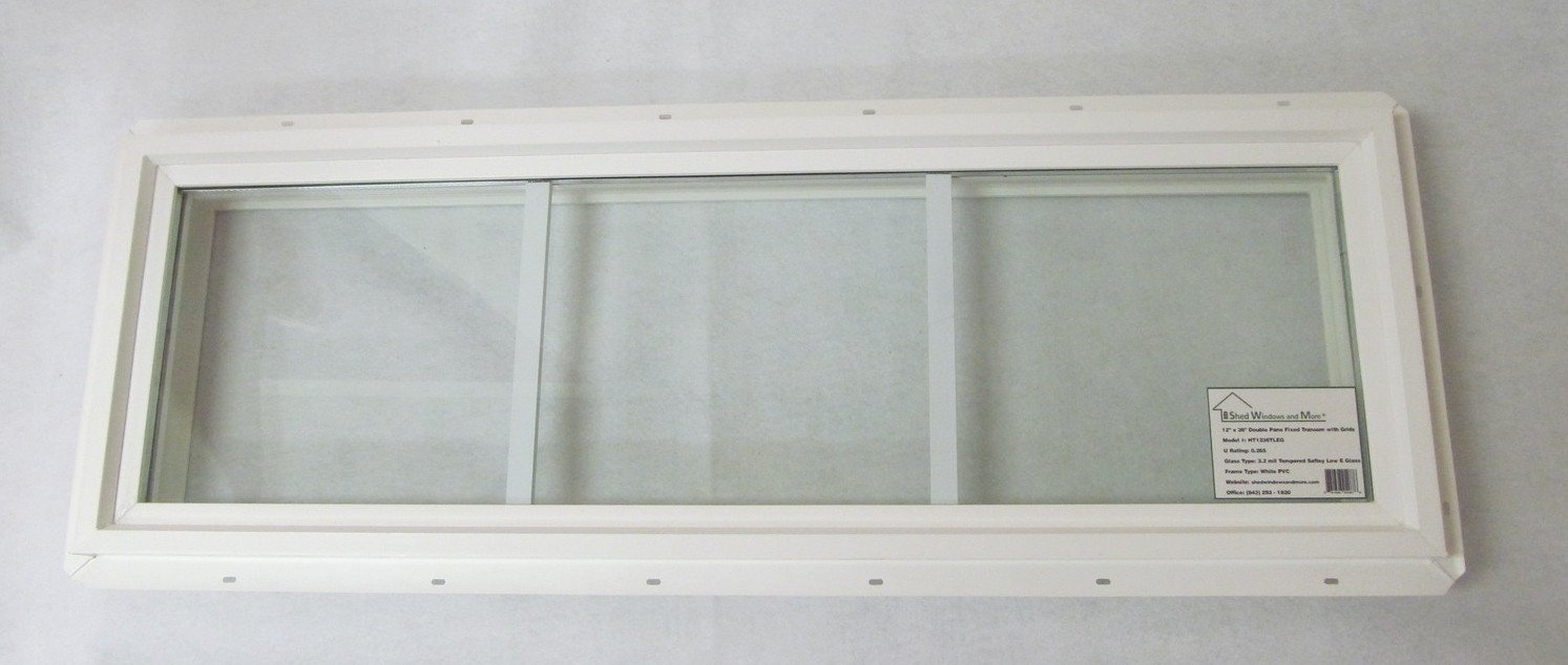 Transom Window 12'' x 36'' Double Pane Low E Tempered Glass With Grids