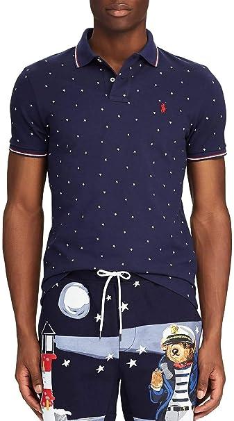 Ralph Lauren Polo Bleu Marine Logo Rouge Imprimé étoile Coupe Droite Pour Homme Amazon Fr Vêtements Et Accessoires