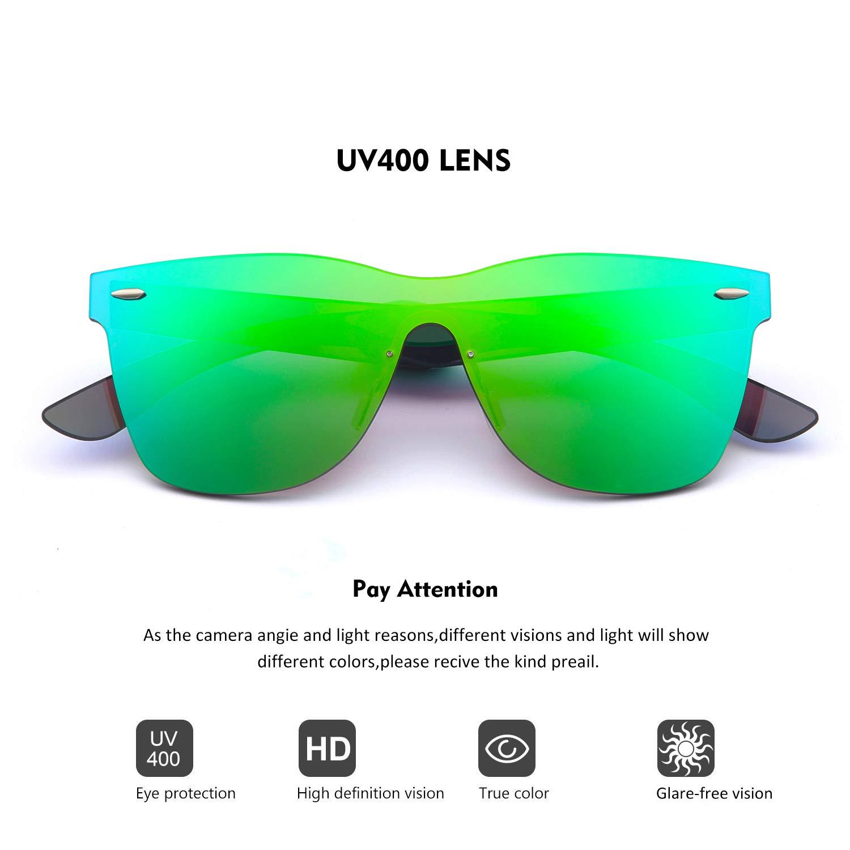 2020VentiVenti Mirrored Sunglasses for Cool Men Women One Piece Square Lens Rimless Frame Colored Glasses for Beach/Fashion PC1601C02 (Green,Revo) by 2020Ventiventi (Image #1)