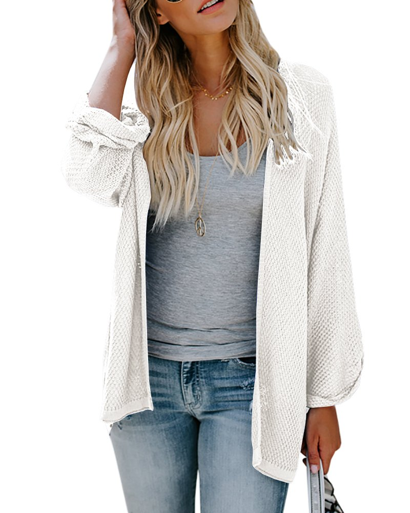 PiePieBuy Womens Long Sleeve Oversized Lightweight Loose Fit Open Front Fall Cardigan Sweaters Tops Outerwear