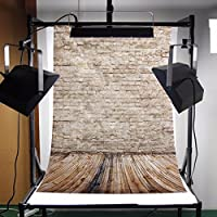 Mohoo 7x5ft Silk Photography Backdrop Background Photo Studio Prop Beige Brick Wooden Floor Silk (update meterial)