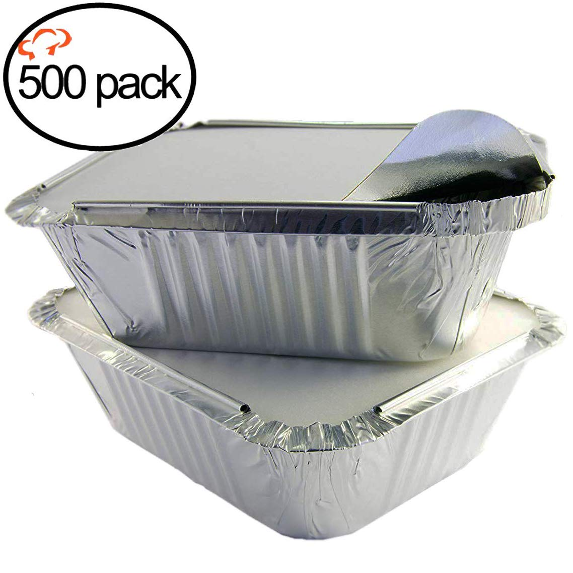 Tiger Chef Aluminum Pans with Lids - Foil Pans - Disposable to Go Containers for Take Out, Storing and Freezing - Oblong 1 LB 5.56'' X 4.56'' X 1.63'' with Board Lids - 500 Pack