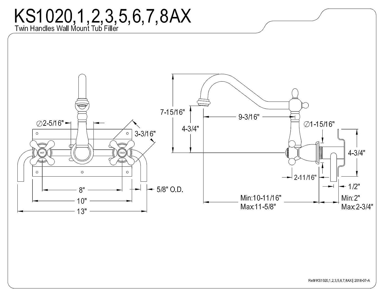 Matte Black Kingston Brass KS1020AX Heritage Wall Mount Roman Tub Faucet