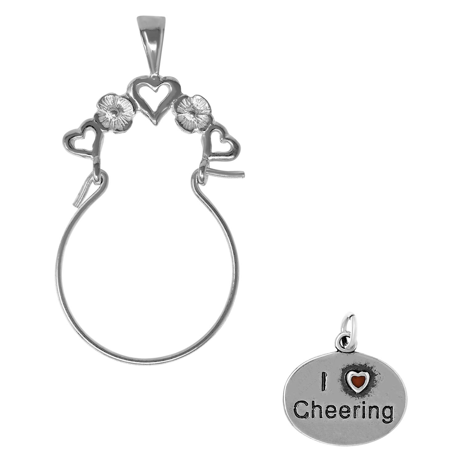 Raposa Elegance Sterling Silver I Love Cheering Charm on Optional Charm Holder