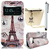 Sunroyal iPhone 5 5G 5S [ Smart Touch Transparent Window View Series ] Stamp Eiffel Tower Postmark Ultra Slim & Light PU Leather Flip Folio Wallet Cover Case with Hidden Magnetic Closure [ Stand Feature ] [ Card Slots ] Soft TPU Back Bumper Shell Sufficient 360 protection Unique Functional Design + 1 x Bling Glitter Crystal Rhinestone Pendant Anti Dust Plug + 1x Metal Stylus Touch Pen Pattern Case