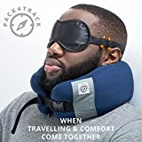 PACK4TRACK Travel Pillow Set - Uniquely Designed To Be The Best Neck Pillow For Women and Men - No More Neck Muscle Pain (Black)