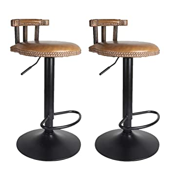 Superb Ukmaster 2Pcs Adjustable Vintage Retro Round Leather Seat Bar Stool High Leg Elegant Swivel Backed For Breakfast Bar Stool Kitchen Counter Wood Short Links Chair Design For Home Short Linksinfo