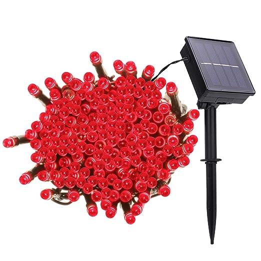 Ankuka Cadena Solar De Luces Guirnalda Luz Led Solar 22m 200 Led 8 Modos Iluminación Luces Impermeable Luces De La Navidad Luz Para Jardín Patio