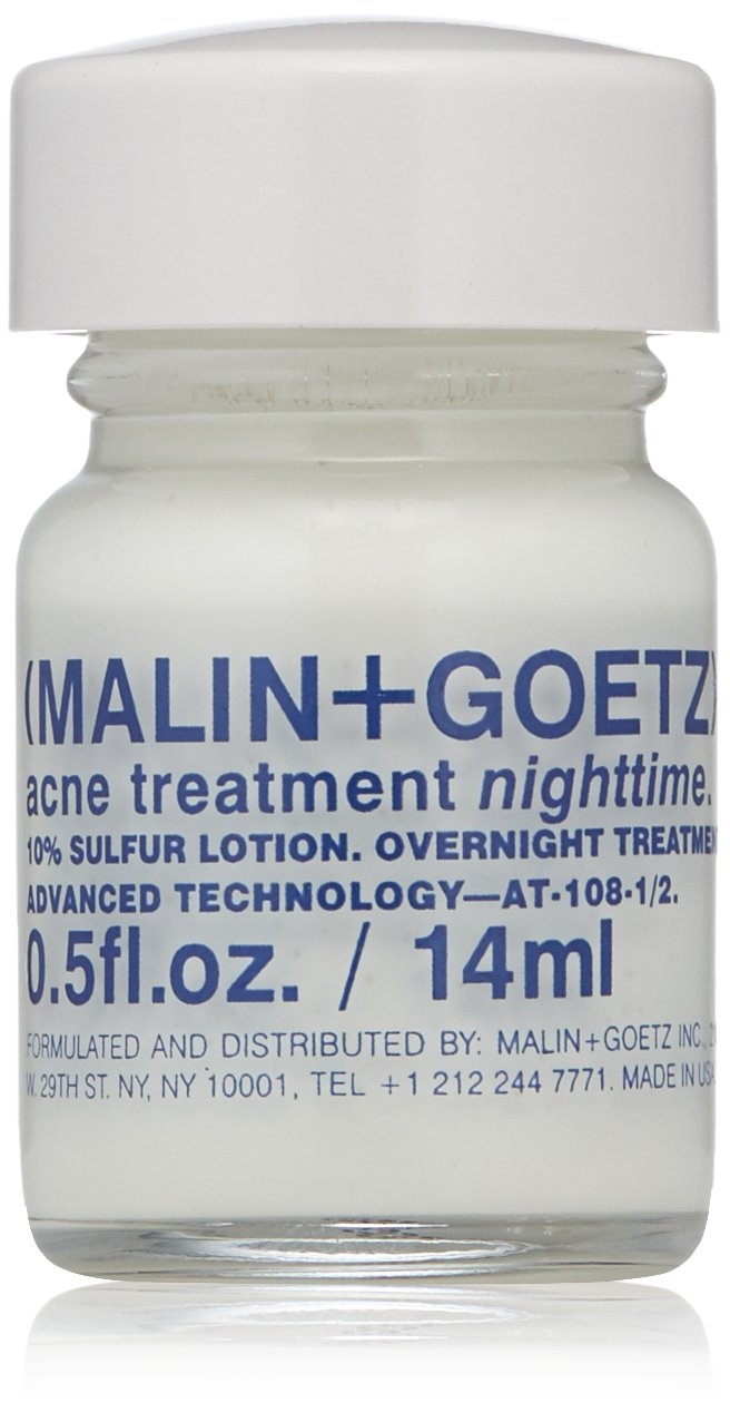 Malin + Goetz Acne Treatment Nighttime overnight spot-treatment, treats blemishes without drying skin. calms skin, fights impurities, prevents signs of scarring. all skin types, vegan. 0.5 fl.oz.
