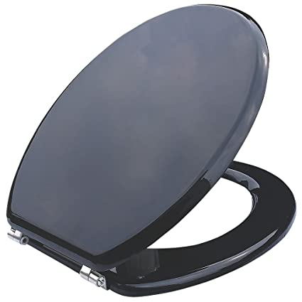 Cooke And Lewis Standard Closing Toilet Seat Moulded Wood Black