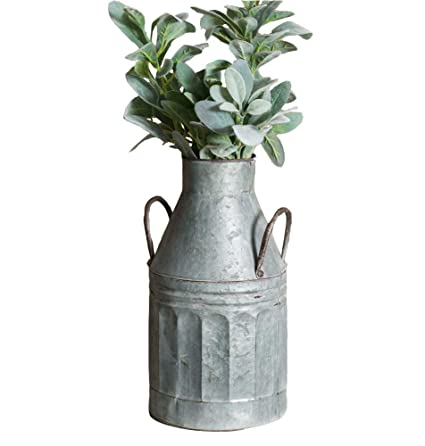 Amazon Rustic Style Galvanized Tall Milk Can Vase With Handles