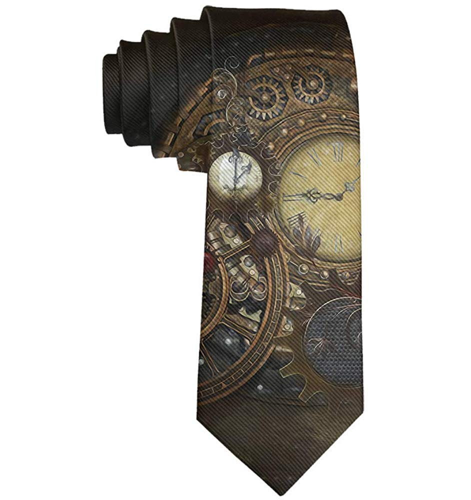 Papillon classico cravatta Steampunk orologi ragazzo scuola casual poliestere cravatta
