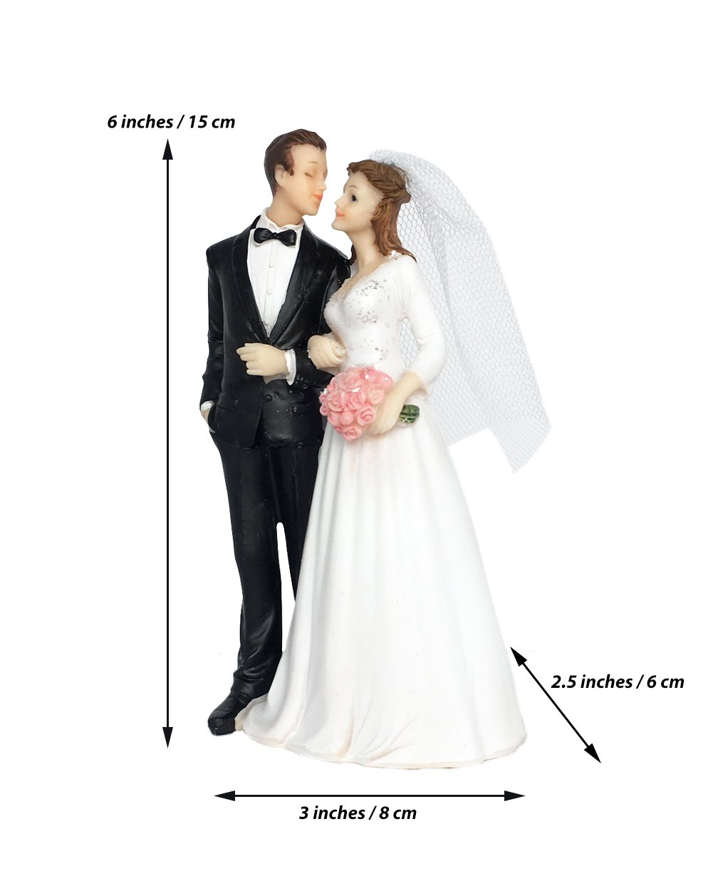 Wedding Cake Topper Funny & Romantic Groom And Bride holding hands with flowers Figurine | Toppers For Wedding Cakes Decoration | Hand Painted & Unique Figurines by zy retail (Image #4)