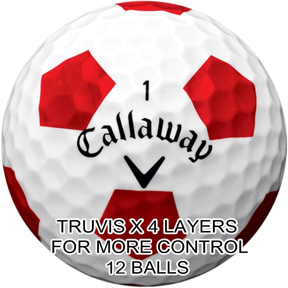 New 2018 Callaway Chrome Soft X Golf Balls - Made in the USA (12 Pack) Choose your Color (X-Truvis Red on White (1 Dozen))