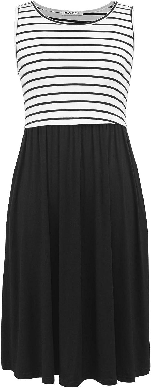 Smallshow Womens Sleeveless Patchwork Maternity Nursing Dress with Pockets