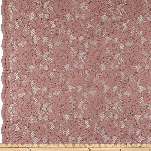 Ben Textiles Heavy Corded Chantilly Lace River Rose Fabric by The ()