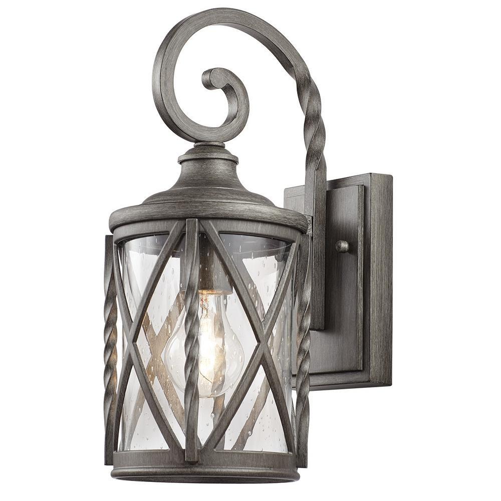 Home Decorators 7953HDCAPDI 1-Light Antique Pewter Outdoor Wall Lantern