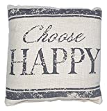 The Country House Collection House Collection Primitive Sentimental Cotton 8'' x 8'' Throw Pillow (Choose Happy)