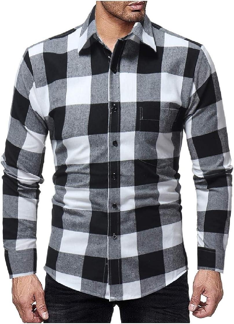 YUNY Mens Britain Plus Size Mid-Long Plaid Lounge Tshirt Shirt Black M