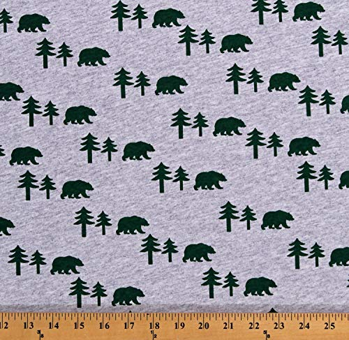 Field's Fabrics Knit Bears Pine Trees Silhouettes Northwoods Animals Wildlife Green on Heather Gray 60