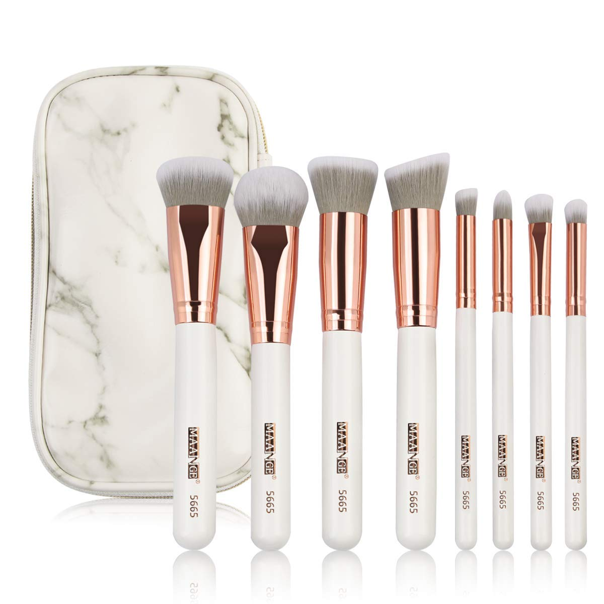 MAANGE Makeup Brushes Premium Luxury 8PCs Make Up Brushes Set With Professional PU Leather Makeup Brush Set Case Bag Kit for Foundation Blending Blush Concealer Eye Shadow(Rose Golden)