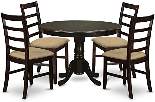 East West Furniture HLAN5-CAP-C 5 Pc Dining Room Set-Linen Fabric Kitchen Chairs Seat Rectangular Table Top and Wooden 4 Legs Cappuccino Finish