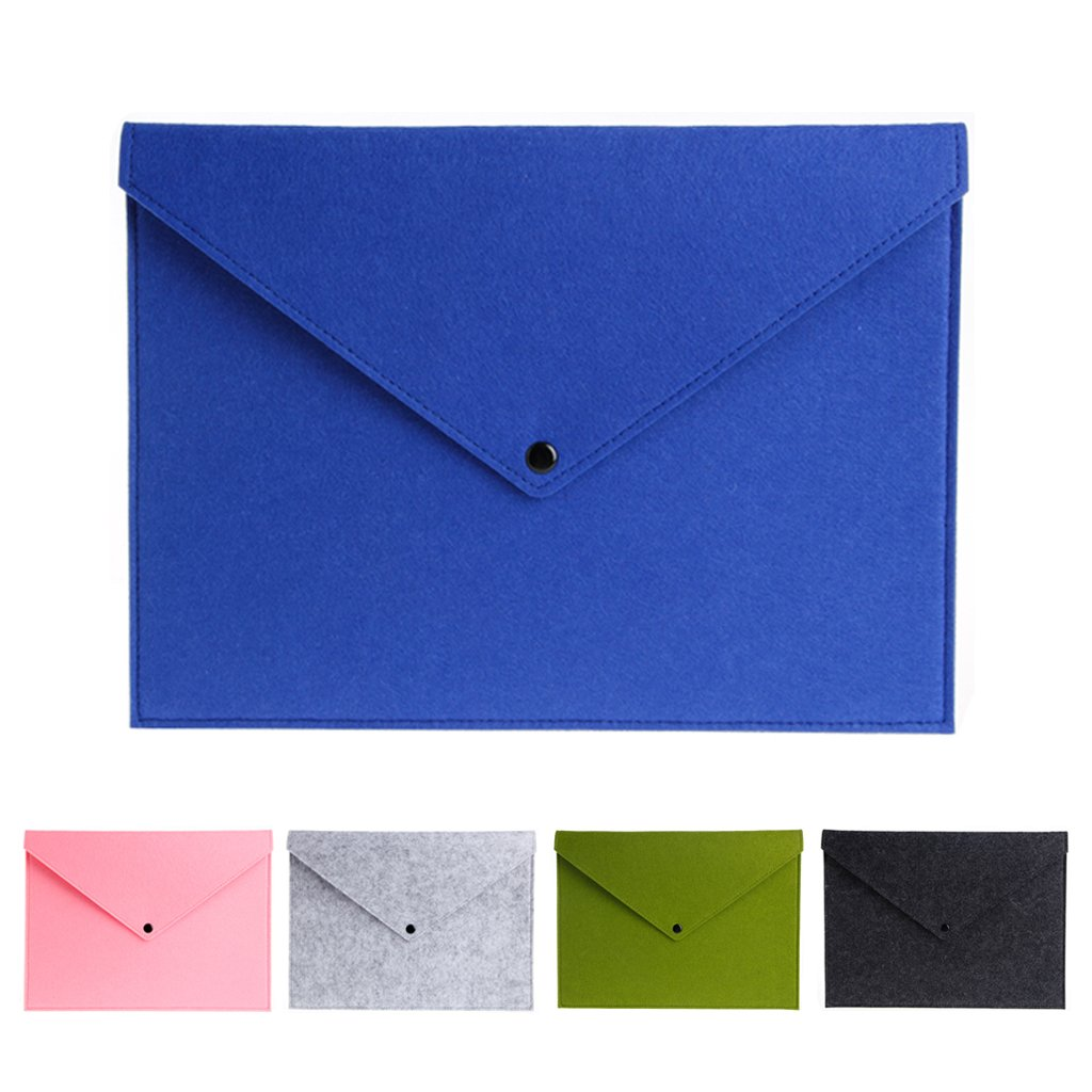 Ladaidra A4 Wool Button Document Bag File Pocket Storage Case Supply for School Office Home (Full 5 colors)