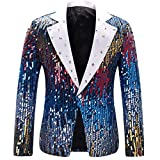 Men's Slim Fit Suit Jacket Casual One Button Shiny Sequin Party Wedding Blazer
