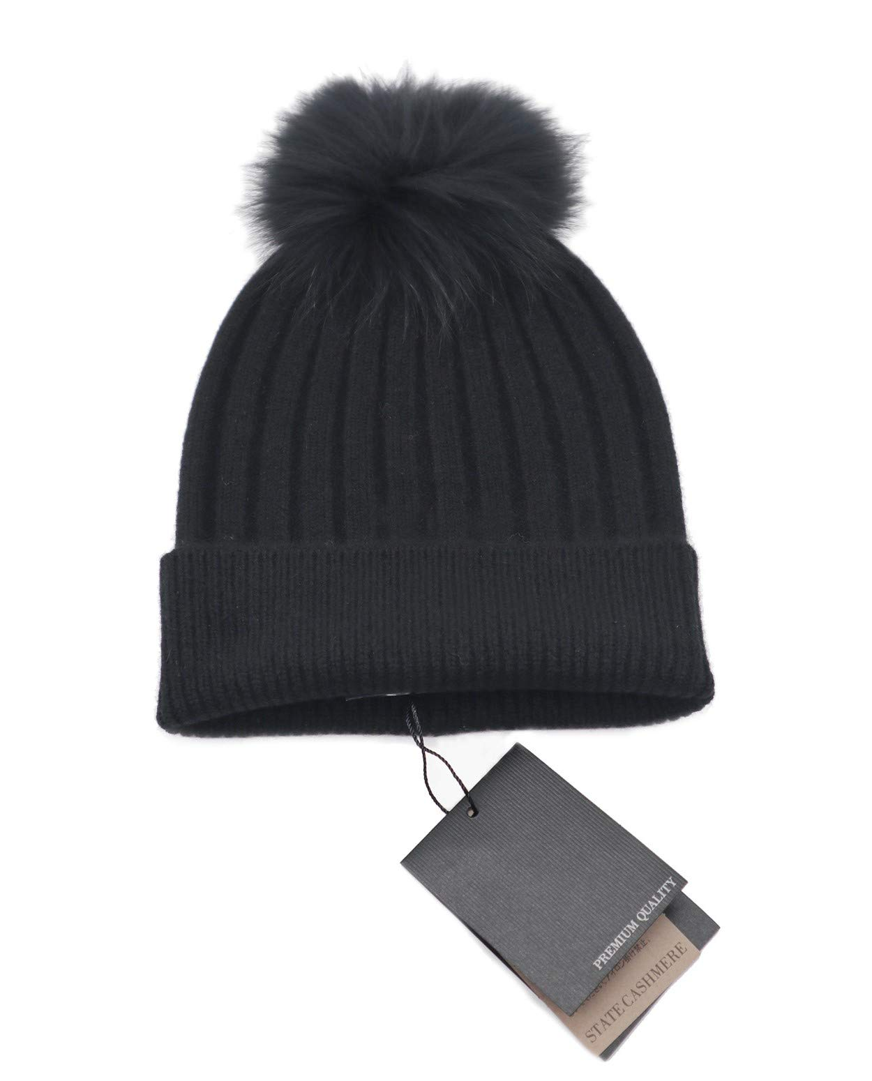 State Cashmere Real Fur Pom-Pom Hat 100% Pure Cashmere Cuffed Beanie•Ultimately Soft and Warm (Black) by State Cashmere
