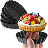 Gutsdoor Mini Tart Pan 4 Inch with Removable Bottom Quiche Pan Nonstick Round Quiche Pie Pan Set of 6