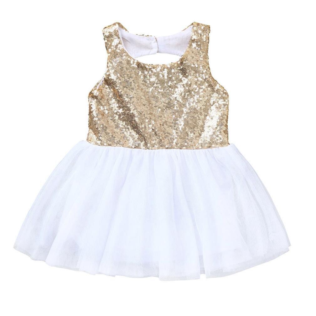 Abbigliamento Bimba Abito Neonata Vestito Tutu Paillettes Cavo Indietro Oro Mini Dress Estivio