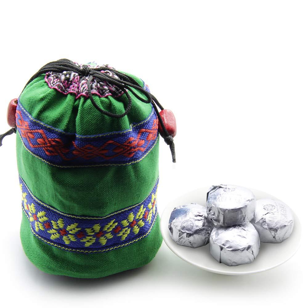 45pcs Cooked Jasmine Flavor Puerh Tea - Ripe(Shu) Mini Tea Tuo Cha -Yunnan Shou Pu-erh Tea -Jasmine Flower Blended Pu erh Tea- Compressed Puer Tea- Bird's Nest Shape Pu'er Mini Tuo Cha with Gift Bag by Lida