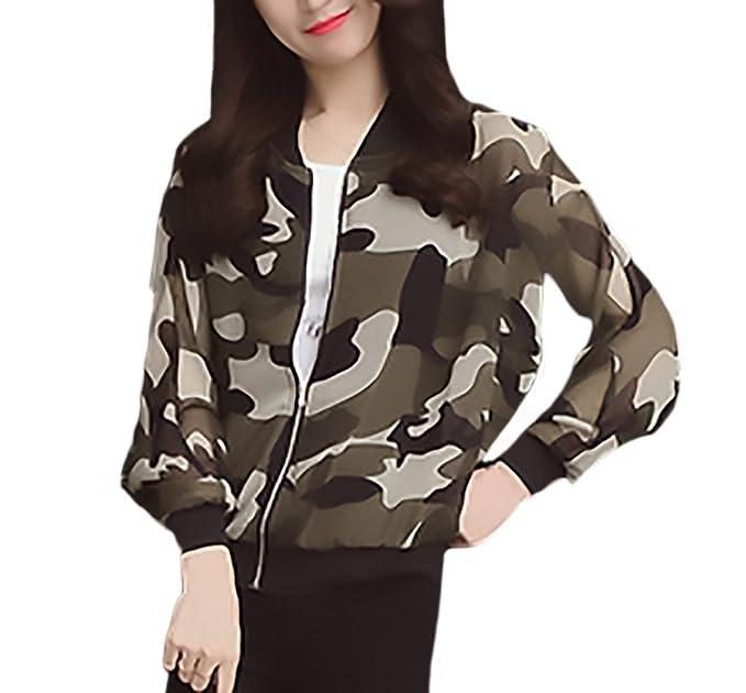 Chaqueta Piloto Mujer Verano Moda Camuflaje Impresión Delgado Chiffon Modernas Casual Chaquetas Bomber Manga Larga Stand
