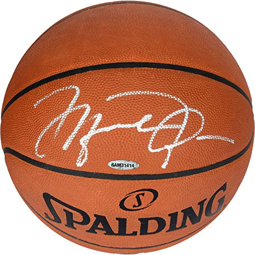 Michael Jordan Chicago Bulls Autographed Official Spalding Basketball Signed in Silver - Upper Deck - Fanatics Authentic Certified (Signed Basketball)