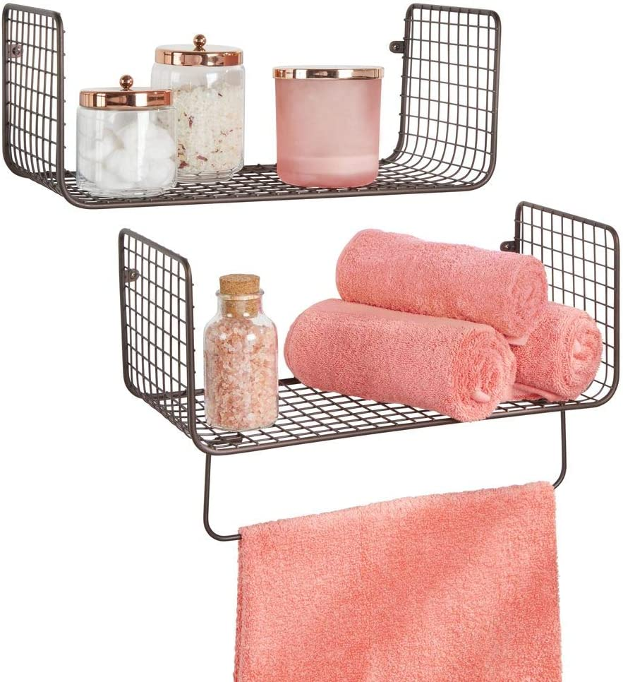 mDesign Metal Wire Farmhouse Wall Decor Storage Organizer Shelving Set - 1 Shelf with Towel Bar for Bathroom, Laundry Room, Kitchen, Garage - Wall Mount, 2 Pieces - Bronze