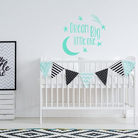 Amazon Com Dream Big Little One Wall Decal Children Wall Decor Nursery Wall Decal Nursery Wall Quote Moon Stars Nursery Decor Baby Wall Decor Home Kitchen