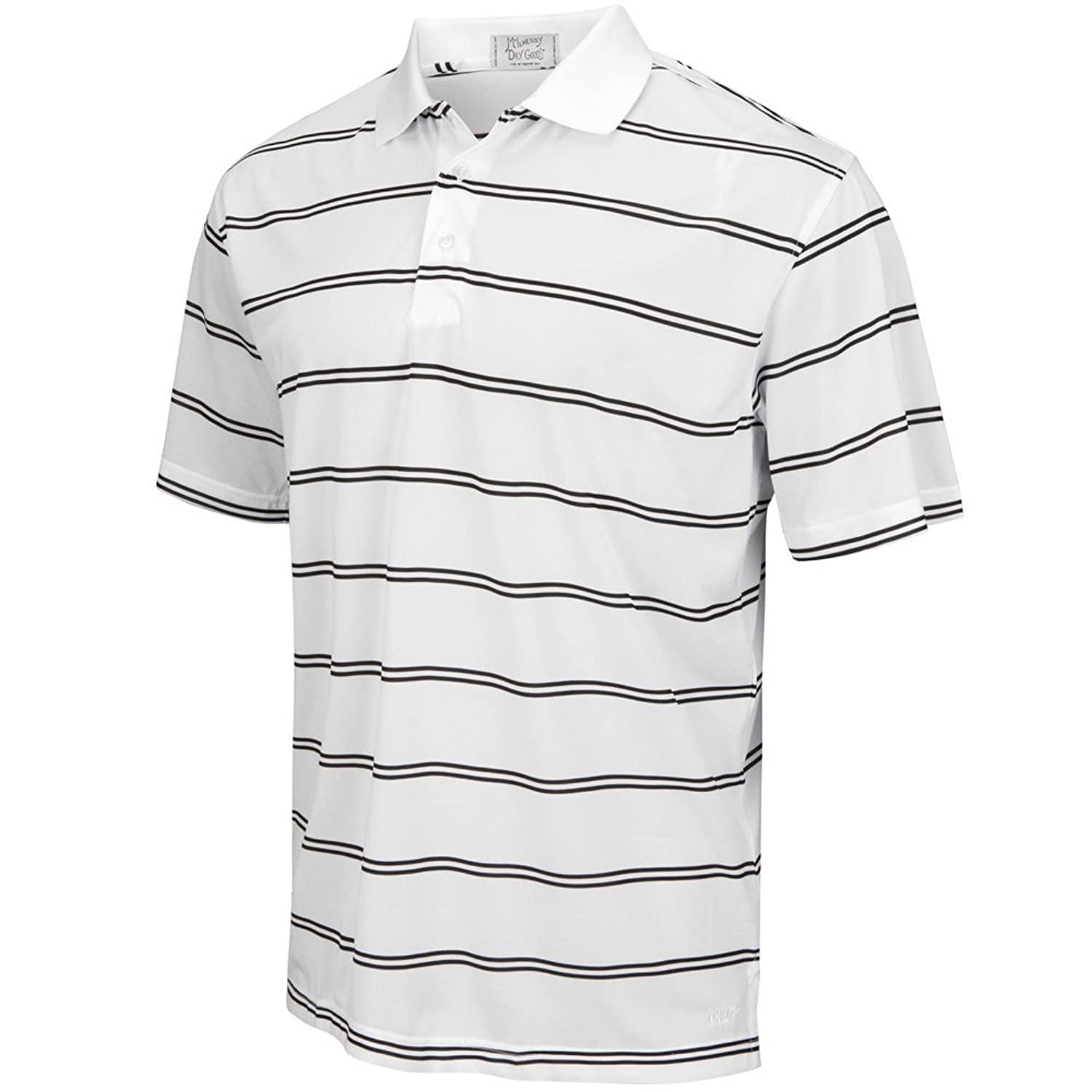 Club Room Men's Striped Estate Performance Polo Shirt Large L Sweetwater Blue