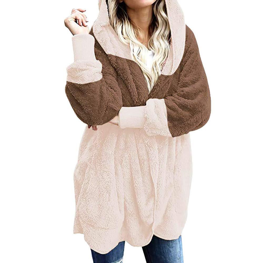 Amazon.com: KFSO Women Color Block Fuzzy Fleece Hooded Cardigan Pocket Faux Fur Outerwear Coat (Khaki, L): Arts, Crafts & Sewing