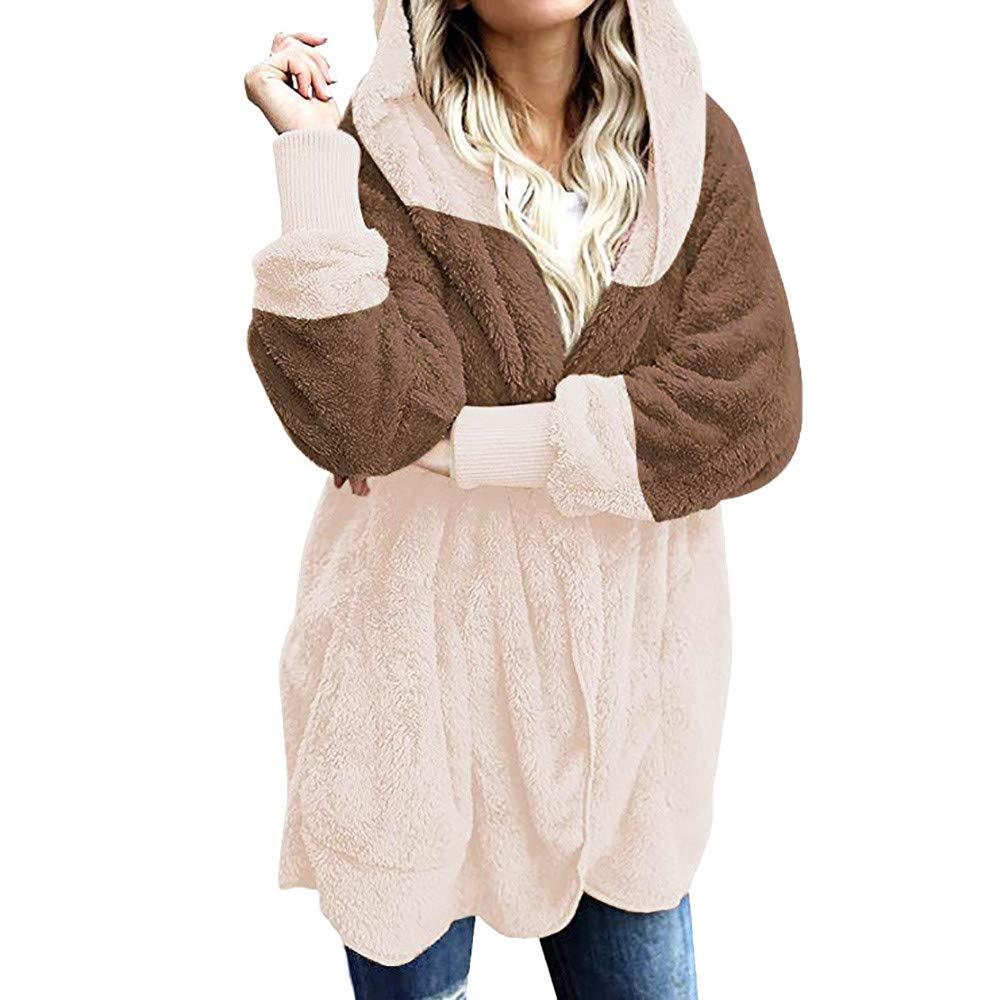 Geili Damen Warm Herbst Winter Mantel Plüsch Fell Jacke mit Kapuze Wollmantel Fleecejacke Frauen Übergrößen Taschen Strickjacke Coat Cardigan Outwear Kapuzenjacke Größe S-2XL