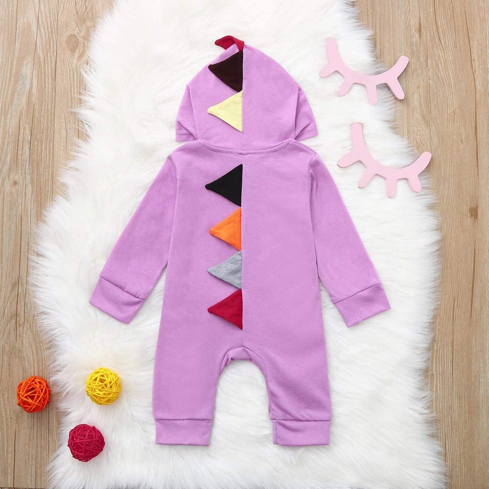 POTO Newborn Infant Baby Boy Girl Dinosaur Hooded Romper Jumpsuit Outfits Playsuit Bodysuit Clothes Set
