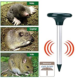 Acidea Solar Mole Repeller Pack of 2 Sonic Mole Repellent Gopher Repellent Ultrasonic Vole Control Rodent Repellent Pest Control Ultrasonic for Yard Lawn Garden, Non-toxic&Eco-friendly