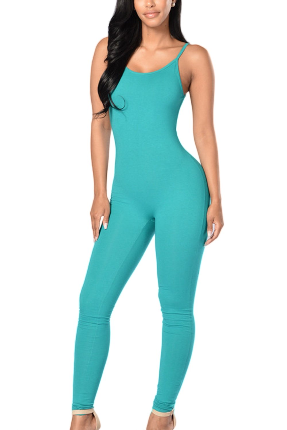 Zilcremo Women Casual Cami Slim Bodycon Full Length Bodysuits Jumpsuits CAFZ690